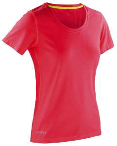 Fitness Womens Shiny Marl T-Shirt HOT CORAL